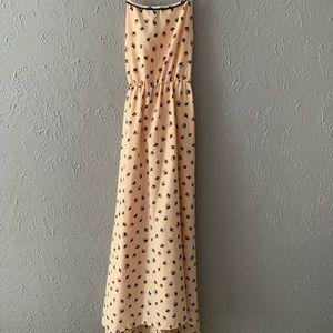Maxi length high low pink float dress